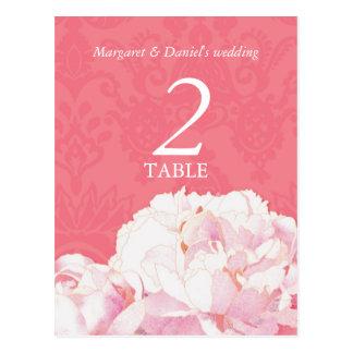 Mod Pink Floral Wedding Table Number Postcards