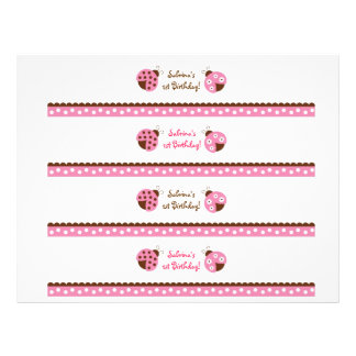 Mod Pink Ladybug Water Bottle Labels Flyer
