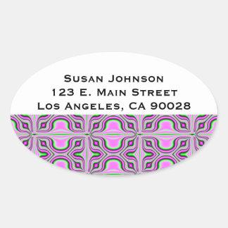Mod pink mauve pattern oval sticker