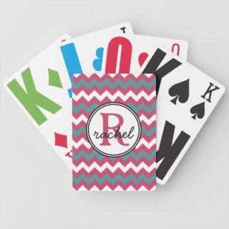 Mod Pink Teal Chevron Monogram Bicycle Poker Cards