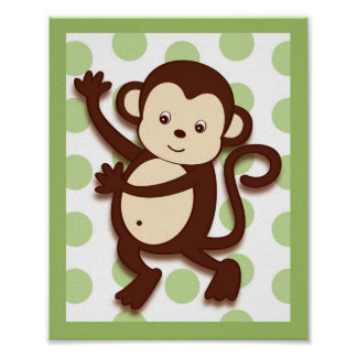 Mod Pod Pop Monkey Nursery Wall Art Print