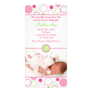 Mod Polka Dot Circles Photo Birth Announcements Photo Cards
