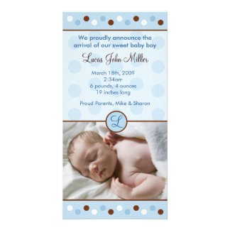Mod Polka Dots Custom Photo Birth Announcements Card