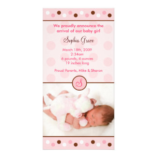 Mod Polka Dots Custom Photo Birth Announcements Personalised Photo Card
