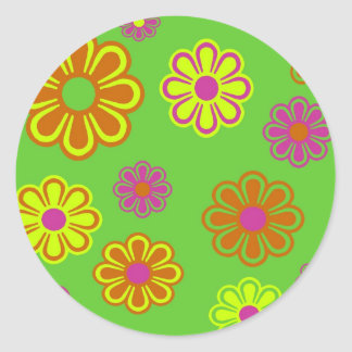 mod pop flowers groovy classic round sticker