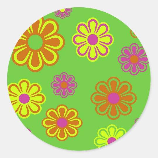 mod pop flowers groovy classic round sticker