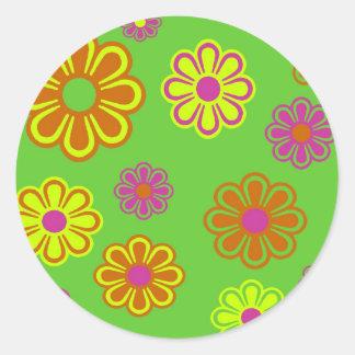 mod pop flowers groovy round sticker