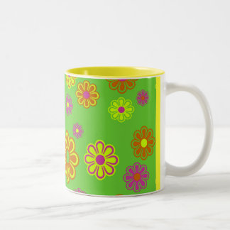 mod pop flowers groovy Two-Tone coffee mug