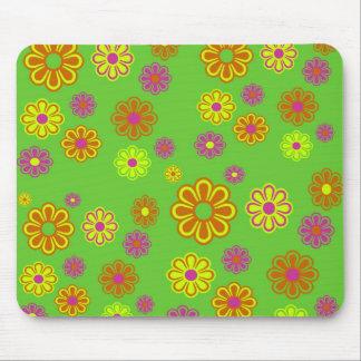 mod pop flowers mouse pad