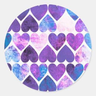 Mod Purple & Blue Grungy Hearts Design Round Sticker
