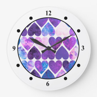 Mod Purple & Blue Grungy Hearts Design Wall Clock