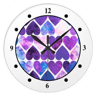 Mod Purple & Blue Grungy Hearts Design Wall Clock