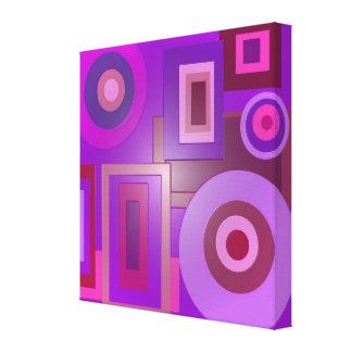 Mod purple circles square canvas print