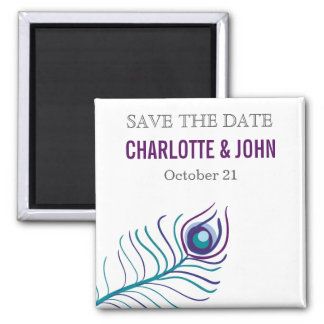Mod purple, teal blue peacock save the Date Square Magnet