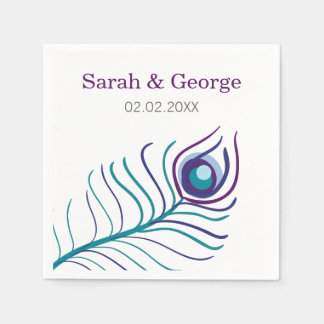 Mod purple, teal blue peacock wedding napkin disposable serviettes