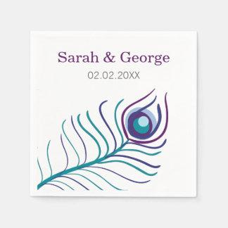 Mod purple, teal blue peacock wedding napkin disposable serviettes