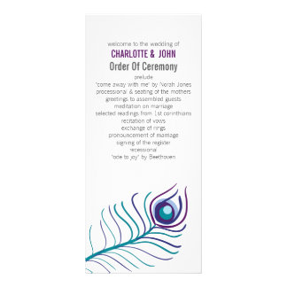 Mod purple, teal blue peacock wedding programs rack card