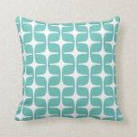 Mod Rectangles Pattern Aqua Cushion
