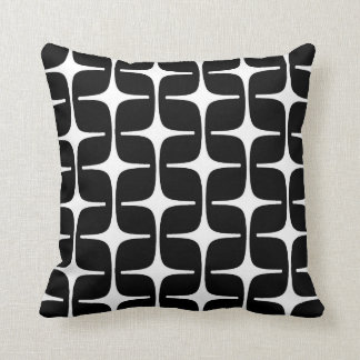 Mod Rectangles Pattern in Black and White Throw Pillow