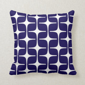 Mod Rectangles Pattern in Cobalt Blue and White Cushion