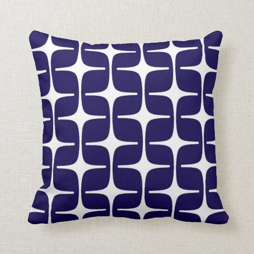 Mod Rectangles Pattern in Cobalt Blue and White Pillow