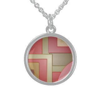 Mod red green squares circles abstract sterling silver necklaces
