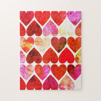 Mod Red Grungy Hearts Design Puzzle