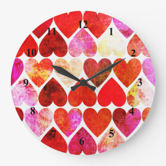 Mod Red Grungy Hearts Design Wall Clock