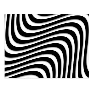 MOD Retro Black and White Swirls Postcard
