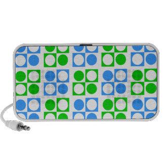 Mod Retro Green Blue Circles Squares Pattern Mp3 Speaker