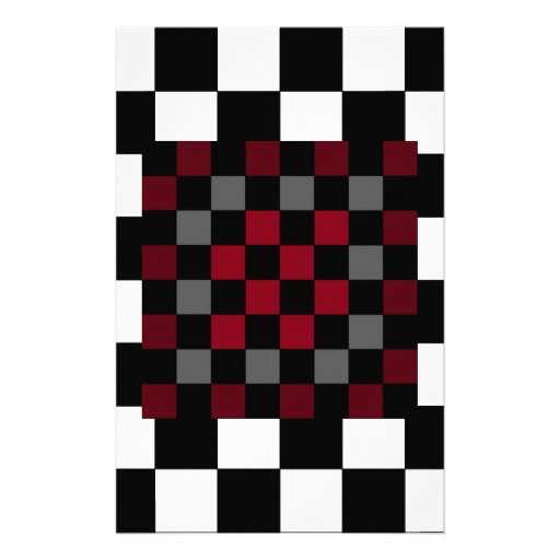 Mod Retro Hipster Checkerboard Custom Stationery