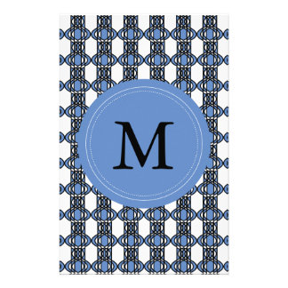 Mod Retro Monogram Blue Abstract Scarab Pattern Personalised Stationery