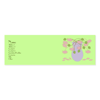 Mod Retro Pink Flowers Vase Pack Of Skinny Business Cards