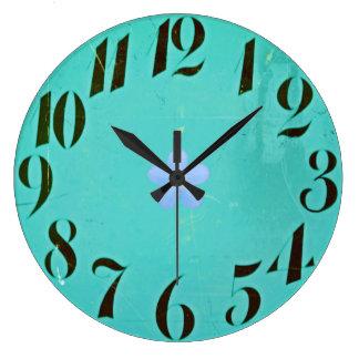 Mod-Retro-Teal-Lavender-Floral-Round Large Clock