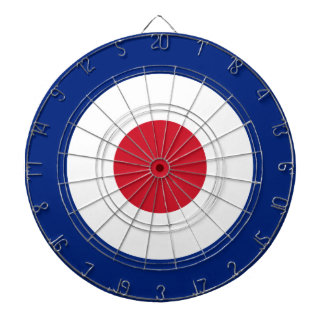 mod roundel dartboard with darts
