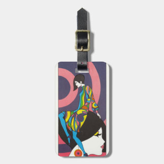 Mod Sixties Fashion Vintage 1960s Luggage Tag