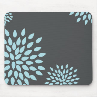 Mod Sky Blue Flower on Gray Background Mouse Mat