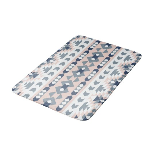Mod Southwest Geometric Navy Blush Bath Mats