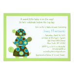 Mod Stacked Turtles Green Baby Shower Invitations 13 Cm X 18 Cm Invitation Card