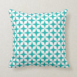 Mod Star Pattern in Aqua Blue and White Cushion