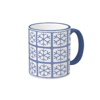 Mod Style Blue Snowflake Pattern Holiday Mugs