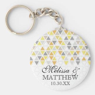 Mod Style Triangle Pattern Triangular Geometric Basic Round Button Key Ring