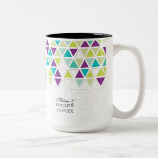 Mod Style Triangle Pattern Triangular Geometric Two-Tone Mug