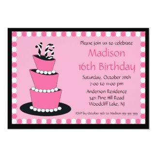 "Mod Sweet Sixteen Birthday Party Invitation 5"" X 7"" Invitation Card"