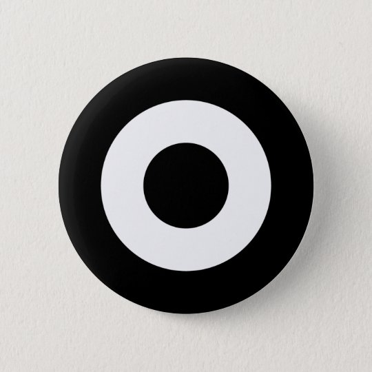 Mod target button, black and white 6 cm round badge
