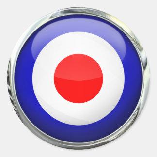 Mod Target Glass Ball Round Sticker