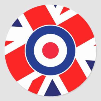 Mod Target on UK Flag Round Sticker