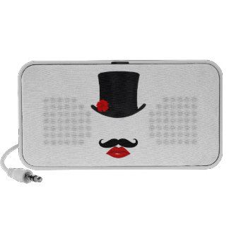 Mod Top Hat Lady With Mustache Travelling Speakers