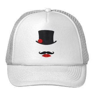 Mod Top Hat Lady With Mustache Trucker Hats