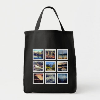 Mod Trendy Shopper Instagram Photo Collage Grocery Tote Bag
